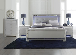 New Silver Led 4pc Queen Or King Modern Bedroom Set - Bed, 2 Nightstands, Chest