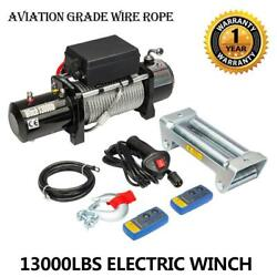 13000lbs 12v Electric Recovery Winch Truck Wire Rope Suv W/ Remote Control Hook