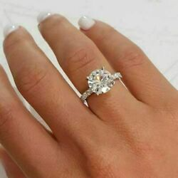 Pretty Look 3.80ct Round Cut Diamond Wedding And Engagement Ring In 14k White Gold