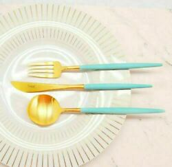 Cutipol Goa Turquoise Gold Flatware 24 Pcs Cutlery Dinner Set Stainless Steel