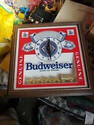 Vintage Budweiser Clydesdales Deluxe Label Sign Lighted Clock Light Rare