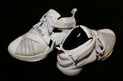 Pre-owned Nike Lebron James King White Touch Fastener Lace Hightops Sneakers 6.5