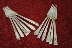 Mix And Match 12 Silverplate Salad Forks Community Rogers Hande National Tudor +