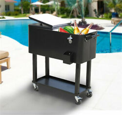 80qt Outdoor Party Rolling Cooler Cart /w Tray Ice Beer Beverage Chest Us