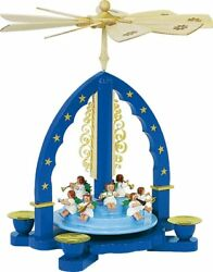 Concert Angels Blue German Christmas Pyramid Carousel Handcrafted In Germany New