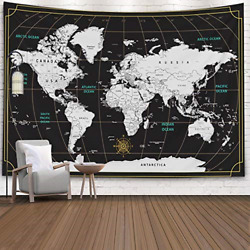 Tapestry World MapCapsceoll Map Hanging Wall Hanging Decorations Outdoor Wall
