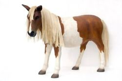 4and039 Life Size Shetland Pony Resin Horse Statue Farm Prop Display Figurine