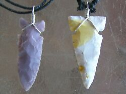 2 Navajo Hand Knapped Mookaite Sterling Silver Arrowhead Necklaces Mike Ahasteen