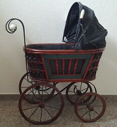 Antique/vintage Victorian Baby Doll Carriage / Buggy Stroller Metal /wicker Wood