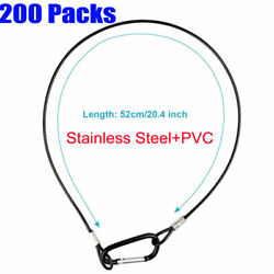200 Pack 52cm/20 Safety Security Cable Wire Load 10kg Stainless Steel+pvc Black
