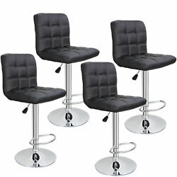 Set Of 4 Adjustable Bar Stools Pu Leather Modern Dinning Chair With Back