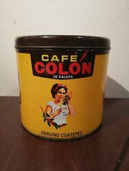 Vintage Mexican Coffee Empty Tin Can Cafe Colon Coatepec Mexico Advertising