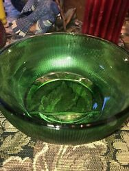 """Depression Glass Forest Green Bowl 6 1/4"""" Across Top"""