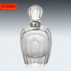 Stylish 20thc Italian Art Deco Solid Silver And Cut Glass Decanter C.1960