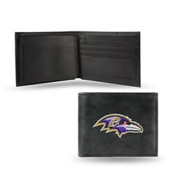 Baltimore Ravens Embroidered Leather Billfold Wallet New In Gift Tin