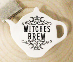 Ebros Pack Of 2 Wicca Moons Witches Brew Hex Ceramic Tea Spoon/bag Holder Plate