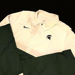 Nike Mens Michigan State Spartans Lightweight Coach's Jacket Cq5114-100 Size Med
