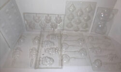 Lot Of 8 Plastic Candy Molds Christmas Halloween Valentines Day