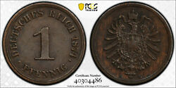 German 1874-g Pfennig Pcgs Au55 Authentic Artifact - 146 Years Old Coin