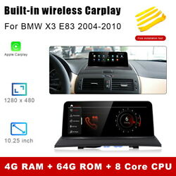 8-core Android 10 Car Gps Touch Screen Wireless Carplay For Bmw X3 E83 2004-2010