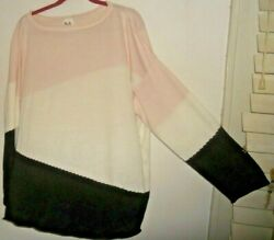 Nwt Planet By Lauren G Art To Wear Diagonal Colorblock Boxy Pima Sweater Osf