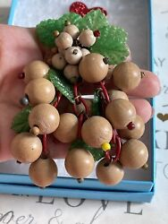 Miriam Haskell Brooch Wood Beads And Plastic Leaf Antique Early 1940's Vary Rare