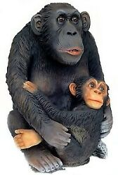 2.5and039 Large Life Size Monkey And Baby Resin Statue Zoo Decor Display