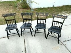 Set Of Four Vintage L. Hitchcock Solid Maple Dining Chairs - Pattern Unknown