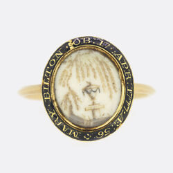 Georgian 1770s Enamel And Hair Miniature Mourning 18ct Yellow Gold Ring