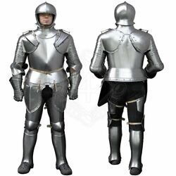 Medieval Knight Cosplay Suit Of Armor Combat Full Body Armor Suit Wt Wooden Base