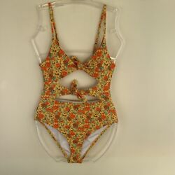 Urban Outfitters Out From Under Monica Double Tie Yellow Swimsuit Small Rrp Andpound39