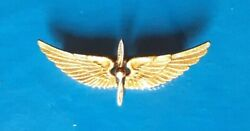 Vintage Ww2 U.s. Army Air Force Solid 14k Gold Wings 1 1/2 Wide- Sweetheart Pin