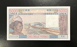 W.a.s /code K Senegal-5000 Fr-1982-scarce Date And Sign.-s/n 131128-p.708kf, Unc