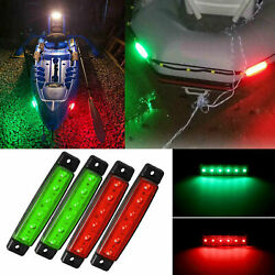 4x Red Green Waterproof Led Bow Navigation Lights For Kayak Boat Yacht Pontoon