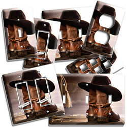 Cowboy Boots And Hat Farm Wood Barn Light Switch Outlet Plate Western Room Decor