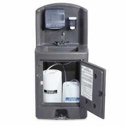 Portable Touchless Sink Hygiene Wash With Dispensers + Foot Pump And Compartments