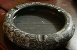 Hand Etched Black Marble Ash Tray