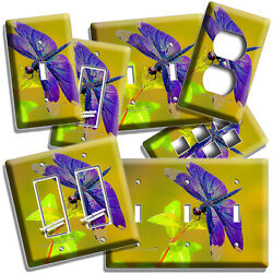 Exotic Purple Dragonfly Summer Nature Light Switch Outlet Plates Room Home Decor