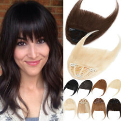 100 Real Clip In Human Hair Thick Neat Bangs Front Fringe Hairpiece Air Bangs T