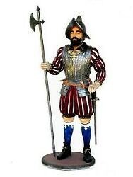 7.5and039 Life Size Spanish Knight With Halberd Conquistador Statue Display Figurine