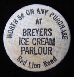 BREYERS ICE CREAM Parlour RED LION Road 5c Old Wooden Buffalo Nickel USA