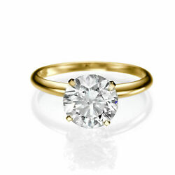 Round Cut Womenand039s Diamond Engagement Ring 14kt Yellow Gold 1.00 Ct H/si2