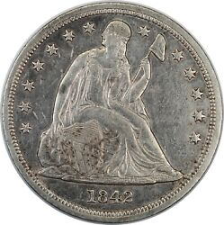 1842 United States Seated Liberty Silver Dollar - Au Almost Uncirculated