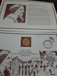 1979 Susan B Anthony First Day Of Issue 24k Gold Plated Us Dollar Coin