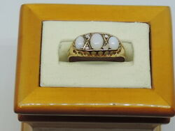 Edwardian 9ct Gold Opal And Diamond Ring Hm Chester 1907