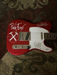 Roger Waters + Nick Mason On The Body Signed Tele Guitar Beckett Pink Floyd