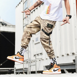 Streetwear Joggers Side-pockets Camouflage Military Trousers Casual Cargo Pants