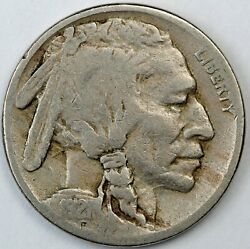 1921-s United States Buffalo 5c Five-cent Nickel - Vg Very Good Condition