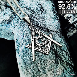 925 Sterling Silver Masonic Square And Compass Pendant Medal Fob ✔️solid✔️quality