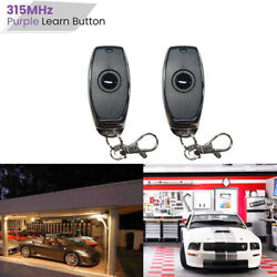 2 For Chamberlain Key Chain Remote Garage Door Opener Purple Learn Button 315mhz